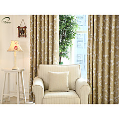 land curtains® et panel beige kapok blomstret blackout gardin drapere
