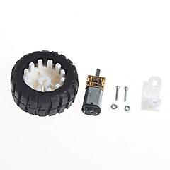 cheap -Geared Motors With Robot Rubber Tire Wheel Bracket (6V100 turn)