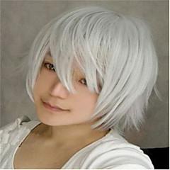 billiga Peruker och hårförlängning-Syntetiska peruker Naturligt vågigt Syntetiskt hår Vit Peruk Dam Korta Utan lock Silver
