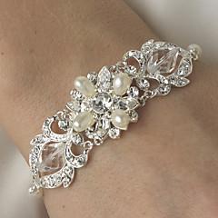 Luxurious Diamond/Rhinestone Silver Aolly Water Feash Pearls Bracelet For Women Lades Bridal Wedding Dance
