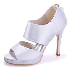 お買い得  ウェディングシューズ-女性用 靴 シルク 春 夏 スティレットヒール ジッパー のために 結婚式 パーティー レッド ブルー ピンク ライトブラウン クリスタル