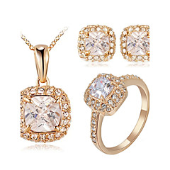 billige Smykke Sett-Dame Krystall Krystall / Kubisk Zirkonium / Fuskediamant Smykkesett Ringer / Øreringer / Halskjeder - Klassisk Kvadrat / Geometrisk Form
