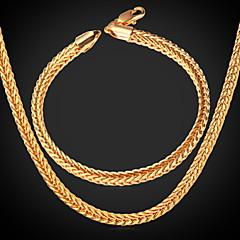 baratos Conjuntos de Bijuteria-Homens Conjunto de jóias - Chapeado Dourado senhoras Incluir Dourado Para Casamento Festa Diário Casual Esportes / Colares / Bracelete