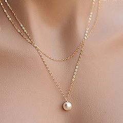 cheap Necklaces-Simple Elegant Pearl Double Chain Alloy Pendant Necklace