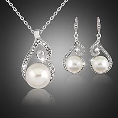 tanie Zestawy biżuterii-Damskie Perłowy Cyrkonia Posrebrzany Imitacja diamentu Biżuteria Ustaw Náušnice Naszyjniki - Urocza Imprezowa White Zestawy biżuterii Na