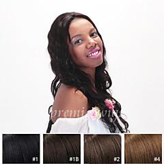 billiga Peruker och hårförlängning-Äkta hår Hel-spets Peruk Vågigt 130% Densitet Naturlig hårlinje / Afro-amerikansk peruk / 100 % handbundet Dam Korta / Mellan / Lång Äkta peruker med hätta