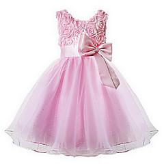 baratos Roupas de Meninas-Bébé Para Meninas Doce Festa Floral Laço / Camadas Sem Manga Vestido Rosa claro 140