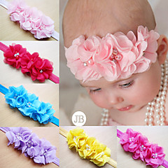 Children Kids Baby Girls Pearl Diamond 3 Flowers Headband Headwear Hair Band Head Piece Accessories
