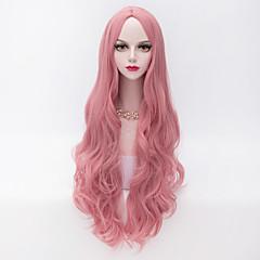 billiga Peruker och hårförlängning-Syntetiska peruker Vågigt / Löst vågigt Rosa Syntetiskt hår Mittbena Rosa Peruk Dam Väldigt länge Utan lock Rosa