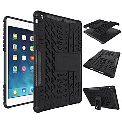 Para Case Tampa Antichoque Com Suporte Capa Traseira Capinha Cor Única Rígida Silicone para Apple iPad (2017) iPad Air 2 iPad Air Pro10.5