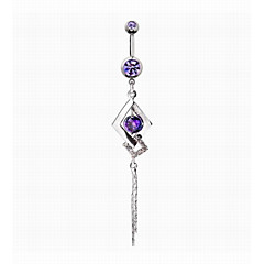 Women's Body Jewelry Navel Rings/Belly Piercing Simulated Diamond Alloy Unique Design Fashion Jewelry Purple Blue Jewelry Daily Casual 1pc
