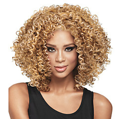 cheap Wigs & Hair Pieces-Synthetic Wig Women's Curly Blonde Asymmetrical Synthetic Hair Natural Hairline / African American Wig Blonde Wig Short / Medium Length / Mid Length Capless P-Strawberry Blonde / Bleach Blonde