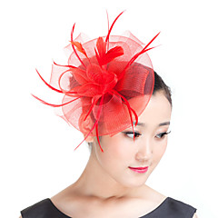 cheap Party Headpieces-Feather Polyester Fascinators Headwear with Floral 1pc Wedding Special Occasion Casual Outdoor Headpiece