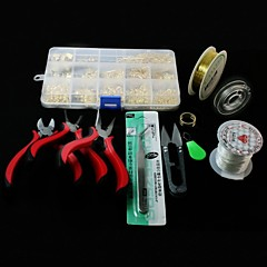 Beadia 1Set DIY Jewelry Findings Kit Pliers&Shear&Jump Rings&Wrie&Elastic Stretch Cords&Pins