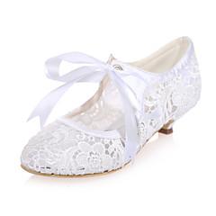 Svart / Rosa / Elfenbenshvit / Hvit - Bryllup sko - Dame - Rund tå - høye hæler - Bryllup / Fest/aften
