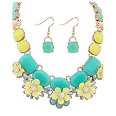 baratos Conjuntos de Bijuteria-Mulheres Conjunto de jóias - Resina Flor Europeu Incluir Verde / Rosa claro Para Diário