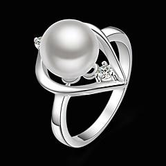 billige Motering-Dame Statement Ring - Perle, Kubisk Zirkonium, Sølvplett Hjerte Mote En størrelse Hvit Til Fest / Fuskediamant