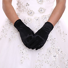 Black Wrist Length Fingertips Glove Flower Tulle Evening Bridal Gloves for Wedding Dress Accessories with DIY Pearls and Rhinestones