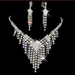 baratos Conjuntos de Bijuteria-Franjas / Longas Conjunto de jóias - Zircônia Cubica, Imitações de Diamante Borla, Festa Incluir Branco Para / Brincos / Colares