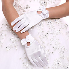 DIY Pearls and Rhinestones  with White Wrist Length Fingertips Glove Flower Tulle Evening Bridal Gloves for Wedding Dress Accessories