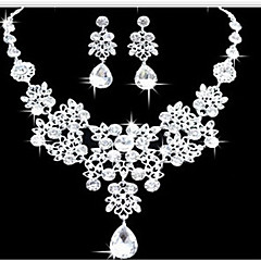 Women's Jewelry Set Earrings Bib necklaces Fashion Double-layer Statement Jewelry Costume Jewelry Imitation Diamond Drop Earrings Necklace