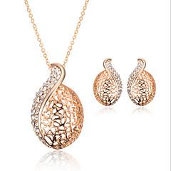 tanie Zestawy biżuterii-Damskie Cyrkonia Pokryte różowym złotem Biżuteria Ustaw Náušnice Naszyjniki - Vintage Urocza Do biura Na co dzień Modny Różowe złoto