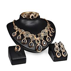 baratos Conjuntos de Bijuteria-Mulheres Conjunto de jóias Conjunto de Jóias - Banhado a Ouro 18K Dourado