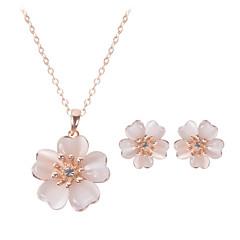 baratos Conjuntos de Bijuteria-Mulheres Cristal Conjunto de jóias - senhoras Incluir Ouro Rose Para Casamento Festa Diário Casual