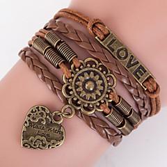 Retro Style Multilayer Brown Flower Heart Love Weave Wrap Bracelet with Rivet