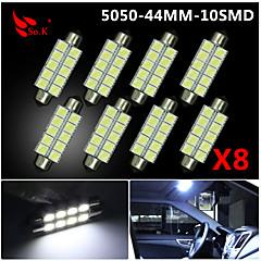 4X  White 44MM 5050 10SMD Festoon Dome Map Interior LED Light bulbs DE3423 6418 12V