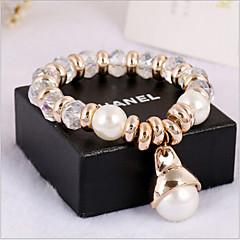 女性用 クリスタル / 人造真珠 / ラインストーン ブレスレット ビーズ 黒曜石 / 人造真珠