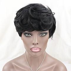 billige Lågløs-brazilian jomfruelige menneskehår ingen blonde parykker korte naturlige bølge maskine gjort korte bob parykker for sorte kvinder