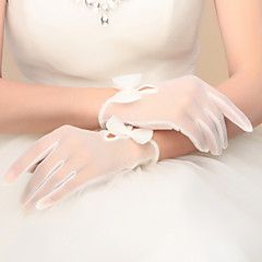 cheap Party Gloves-Nylon Wrist Length Glove Bridal Gloves Party/ Evening Gloves With Bowknot