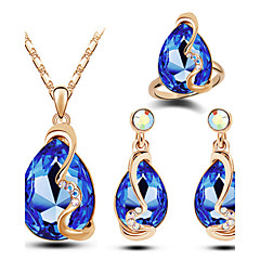 Women's Jewelry Set Luxury Fashion Wedding Party Daily Casual Christmas Gifts Austria Crystal Alloy Drop Rings Earrings Necklaces