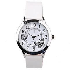 f4cc1a3f274 Mulheres Relógio de Pulso Quartzo Couro PU Acolchoado Branco Impermeável  imitação de diamante Analógico senhoras Brilhante Borboleta Fashion Relógio  ...