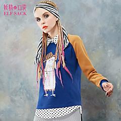 ELFSACK 女性 シャツカラー ロング パーカー&スウェットシャツ ブラウン / レッド - 1431100