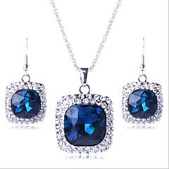 baratos Conjuntos de Bijuteria-Geométrica Conjunto de jóias - Imitações de Diamante Luxo, Festa Incluir Roxo / Verde / Azul Para