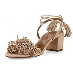 billige Trendy sko-Dame Sko Ruskind Sommer Kraftige Hæle for udendørs Sort Rød Hudfarve