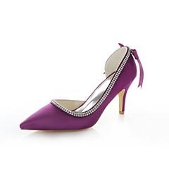 cheap Women's Heels-Women's Stretch Satin Summer Stiletto Heel Crystal / Ribbon Tie Purple / Red / Wedding / Party & Evening / Dress / Party & Evening