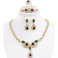 baratos Conjuntos de Bijuteria-Cristal Conjunto de jóias - Chapeado Dourado Vintage, Festa, Corrente Incluir Dourado / Arco-Íris Para