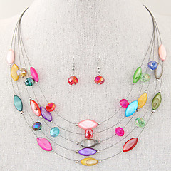 Women's Fashion Exquisite Bohemian Crystal Multilayer Shell Necklace Earrings Sets