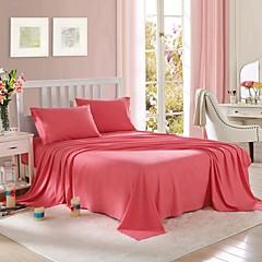 billiga Påslakan-Enfärgad 4 delar Polyester Förfärgat Polyester 2st Shams 1st Underlakan 1st Dra-på-lakan (Vid Twin Storlek, bara en Sham eller ett