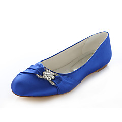 cheap Wedding Shoes-Women's Shoes Silk Spring Summer Flat Heel Crystal for Wedding Dress Party & Evening Purple Red Pink Royal Blue Champagne