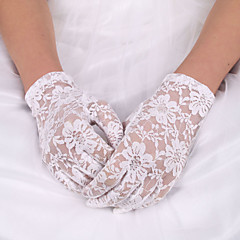 cheap Party Gloves-Lace Polyester Elastic Satin Wrist Length Glove Classical Bridal Gloves With Solid