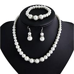 Takı Seti Kadın's Yıldönümü / Nişan / Parti Mücevher Setleri alaşım Taşsız / İmitasyon İnci Bileklikler / Kolczyki / Kolyeler Beyaz