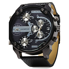 お買い得  メンズ ウォッチ-男性用 リストウォッチ 軍用腕時計 クォーツ 3タイムゾーン 2タイムゾーン レザー バンド ぜいたく ブラック
