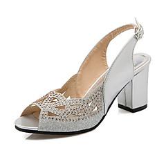baratos Acessórios para Festas-Mulheres Sapatos Couro Envernizado Gliter Verão Salto Robusto Salto de bloco Gliter com Brilho Presilha Combinação para Escritório e