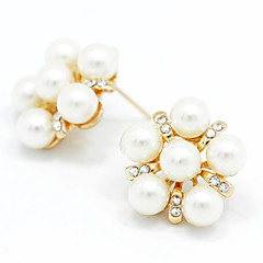 Lady's Pearl Crystal 18K Gold Plated Stud Earrings Elegant Style