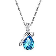 cheap Necklaces-HKTC Valentine's Glittering Blue Austrian Crystal Angel's Teardrop CZ Diamond Pendant Necklace Platinum Plated Jewelry