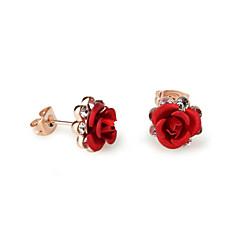 baratos -Brincos Curtos Cristal Zircônia Cubica Liga Formato de Flor Rose Roxo Vermelho Azul Jóias Para 2pçs